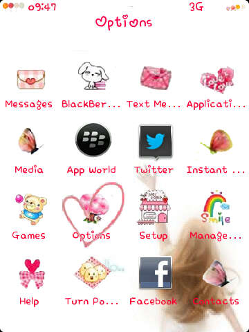 Menggunakan cute blackberry themes Enakei Butterfly